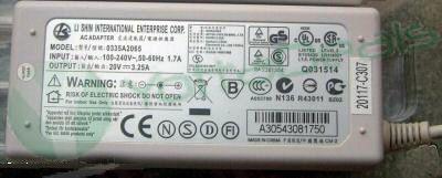 LI SHIN Genuine Original 0335A2065 AC Adapter 20V 3.25A For ADP-60DB API-7595 API-7629 HP Omnibook 6000 XE3 Toshiba Satellite 3000
